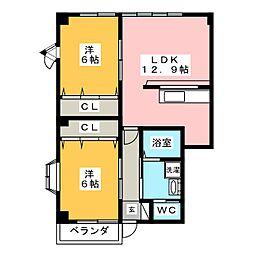 ハイステージ本宮[1階]の間取り