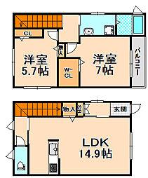 [テラスハウス] 兵庫県伊丹市荒牧6丁目 の賃貸【/】の間取り