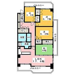 ラ・クール藤ヶ丘[3階]の間取り