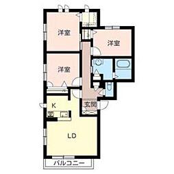 ガーデンコート衣摺B棟[2階]の間取り
