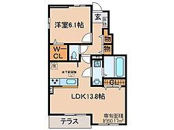 京都府京都市伏見区日野西風呂町の賃貸アパートの間取り