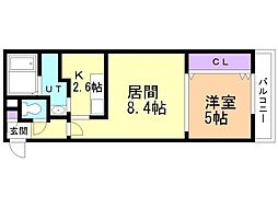 札幌市営東西線 発寒南駅 徒歩8分の賃貸マンション 2階1LDKの間取り