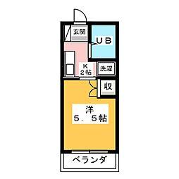 杉沢ハイツ 2階1Kの間取り