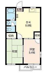埼玉県さいたま市緑区芝原3丁目の賃貸アパートの間取り