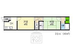 京阪本線 関目駅 徒歩5分の賃貸アパート 1階2DKの間取り