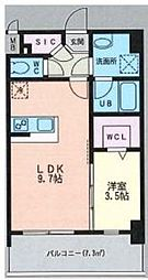 ルッシェ天神東 S棟 6階1LDKの間取り