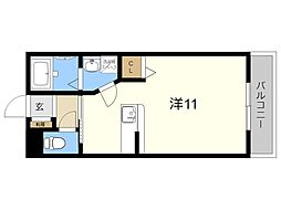 JR日豊本線 国分駅 徒歩7分の賃貸マンション 2階ワンルームの間取り