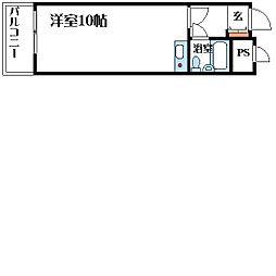 ミストラル川園 2階ワンルームの間取り