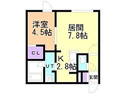札幌市営南北線 真駒内駅 徒歩14分の賃貸マンション 2階1LDKの間取り