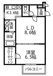 南海高野線 北野田駅 徒歩15分の賃貸アパート 1階1LDKの間取り