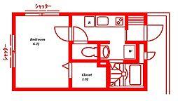 神奈川県藤沢市片瀬3丁目の賃貸アパートの間取り