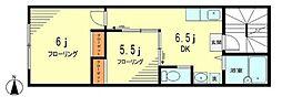 JR総武線 高円寺駅 徒歩5分の賃貸マンション 2階2DKの間取り