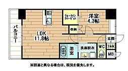 福岡県北九州市小倉北区中井口の賃貸マンションの間取り