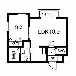 DOMUS(ドムス) 2階1LDKの間取り