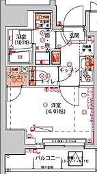 ハーモニーレジデンス川崎[10階]の間取り