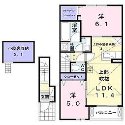 アチェロ・クオーレ(アパート) 2階2LDKの間取り