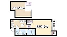 愛知県名古屋市天白区野並2丁目の賃貸アパートの間取り