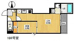 広島電鉄宮島線 草津駅 徒歩5分の賃貸アパート 1階1LDKの間取り
