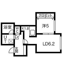 植物園テラス 5階1DKの間取り