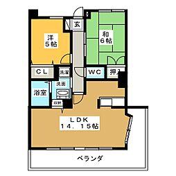 グランメール香久山[4階]の間取り