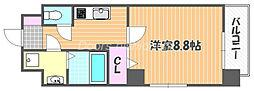 JR山陽本線 岡山駅 徒歩10分の賃貸マンション 8階1Kの間取り