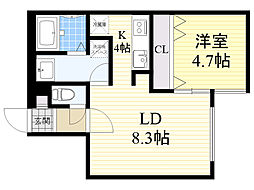 MION'S YAMAHANA 2階1LDKの間取り
