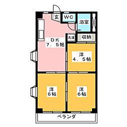 笠井ハイツ[6階]の間取り