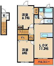 ハーモニースクエアI[2階]の間取り