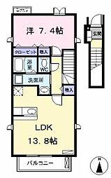 愛知県あま市中萱津五反田の賃貸アパートの間取り