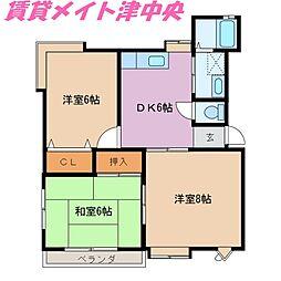 三重県津市白塚町の賃貸アパートの間取り