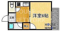 京都府京都市左京区松ケ崎樋ノ上町の賃貸アパートの間取り