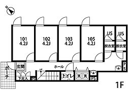 三ツ沢下町[203号室]の間取り