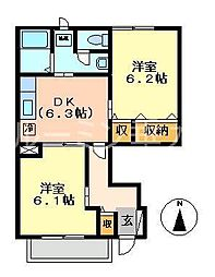 アメニティーカスガ2[1階]の間取り