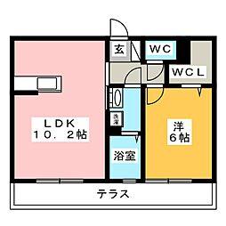 ウインドワード 1階1LDKの間取り