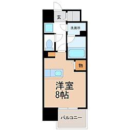 クラシエ三河安城 8階ワンルームの間取り