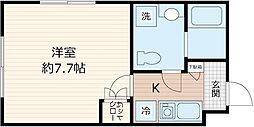 JR京浜東北・根岸線 川崎駅 徒歩7分の賃貸マンション 3階1Kの間取り