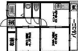 神奈川県秦野市萩が丘の賃貸マンションの間取り