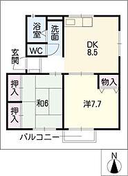 ソファレ花園B棟[2階]の間取り