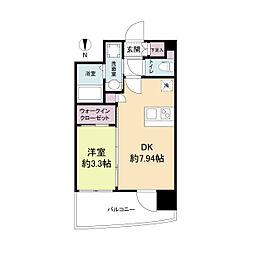 セレニテ江坂ルフレ 9階1DKの間取り