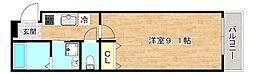 フジパレス太子橋III番館 2階1Kの間取り