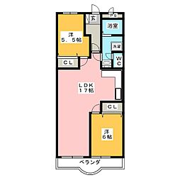 ノーブル北安東[2階]の間取り