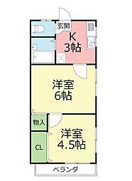 神奈川県藤沢市本鵠沼1丁目の賃貸アパートの間取り