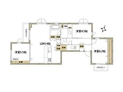 JR山手線 代々木駅 徒歩10分の賃貸マンション 3階3LDKの間取り