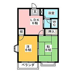 コーポ平成[2階]の間取り