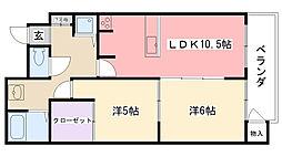 東行マンション[303号室]の間取り