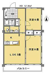 田中コーポ[203号室]の間取り
