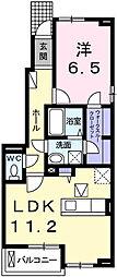 細野町アパートB 1階1LDKの間取り