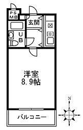 十三本町ユニハウス 7階ワンルームの間取り