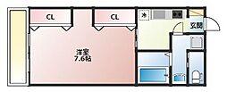 JR鹿児島本線 久留米駅 徒歩10分の賃貸アパート 2階1Kの間取り