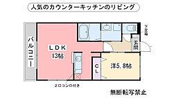 エクセルハイムMasaki[203号室]の間取り